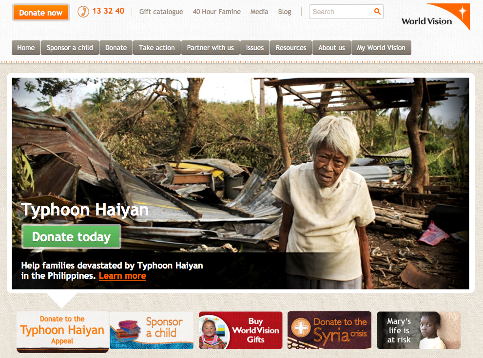 World Vision Australia website home page slider