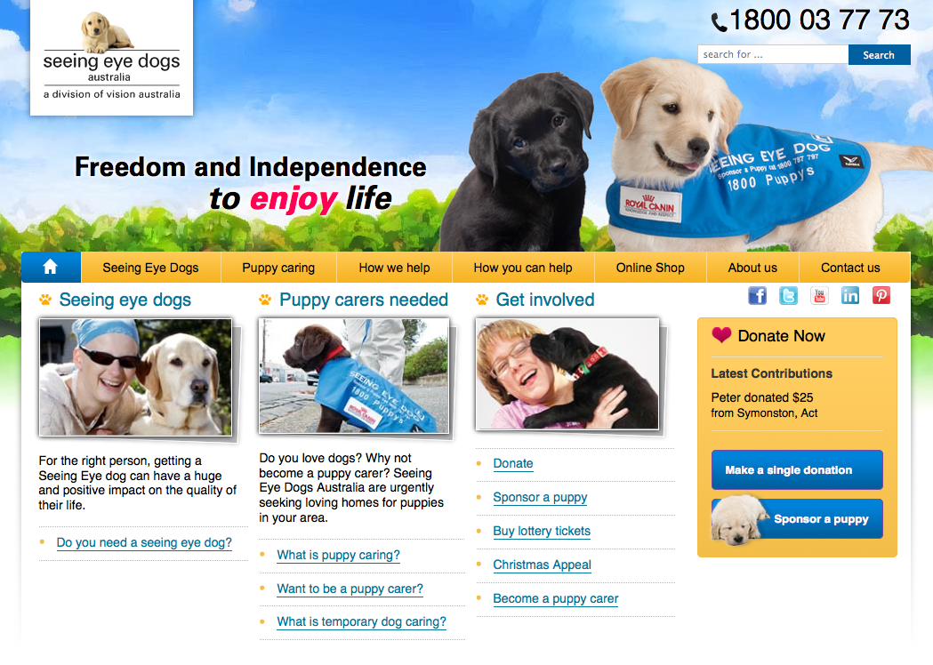 Seeing Eye Dogs website home page slider