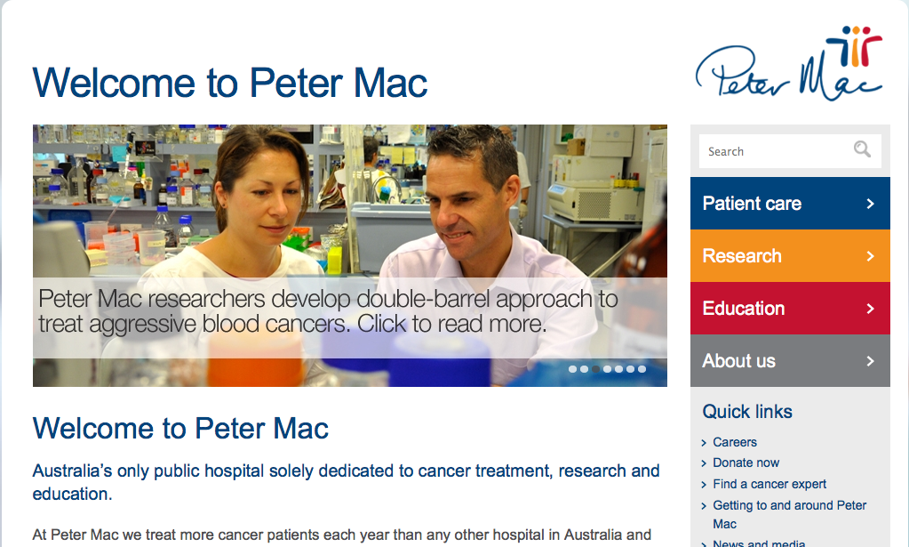 PeterMac website home page slider