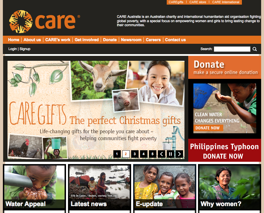Care Australia website home page slider