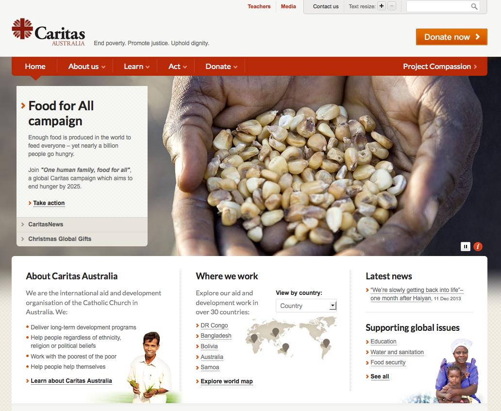 Caritas Australia website home page slider