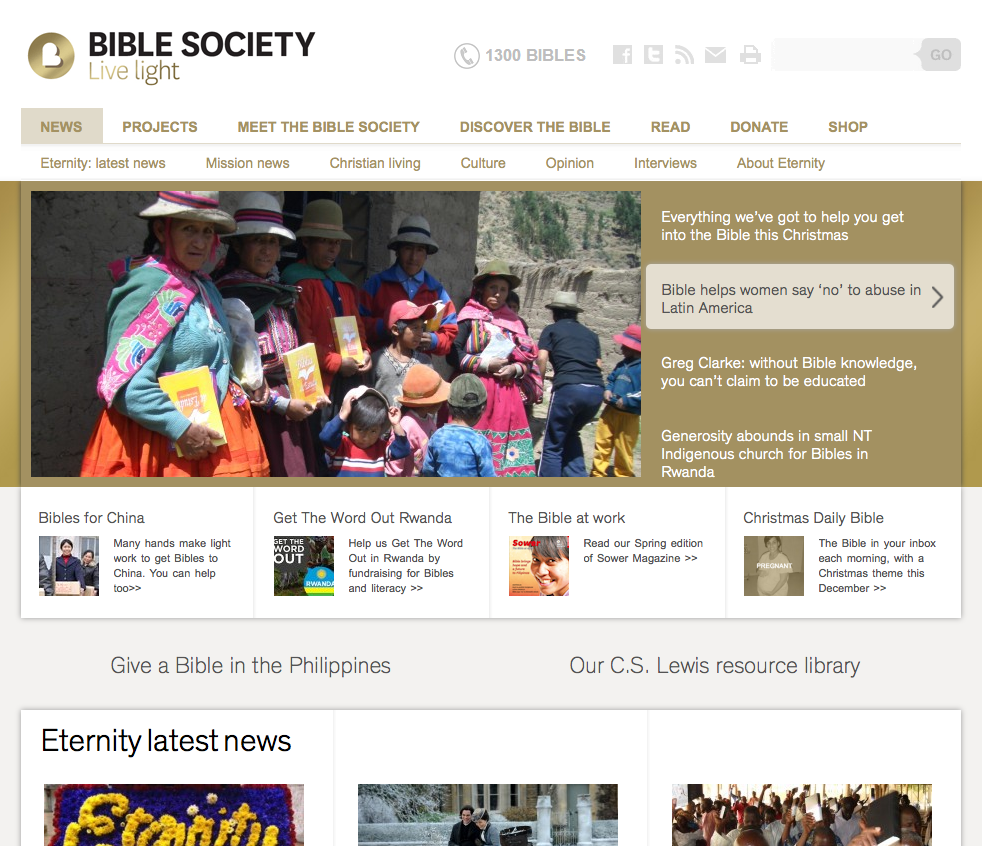 Bible Society Bible Society website home page slider