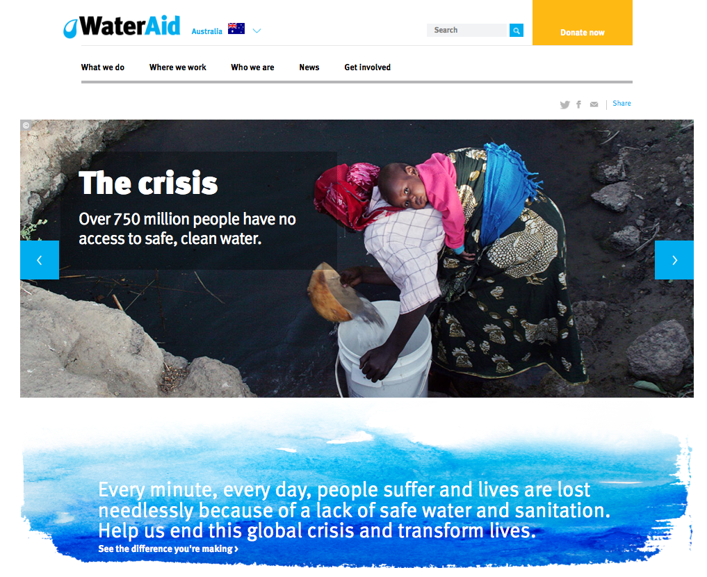 Water Aid Australia website home page slider